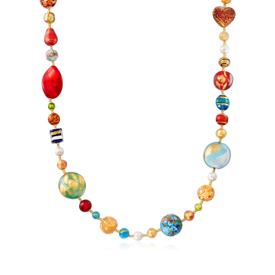 Italian Murano Glass Bead and 7.5mm Cultured Pearl Necklace in 18kt Gold Over Sterling