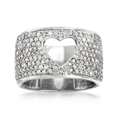 1.00 ct. t.w. Diamond Open-Space Heart Ring in Sterling Silver