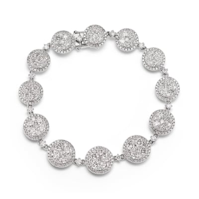6.70 ct. t.w. Diamond Cluster Bracelet in 18kt White Gold