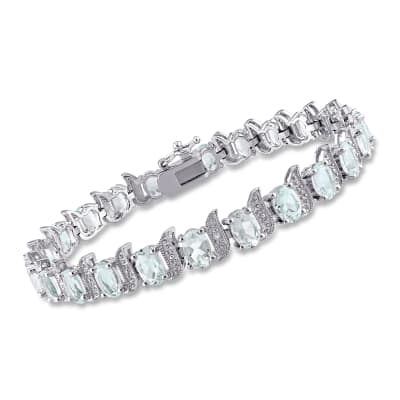 9.50 ct. t.w. Aquamarine Tennis Bracelet with Diamond Accents in Sterling Silver