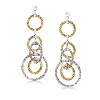 "ALOR ""Classique"" Two-Tone Stainless Steel Multi-Circle Drop Earrings with 18kt White Gold"