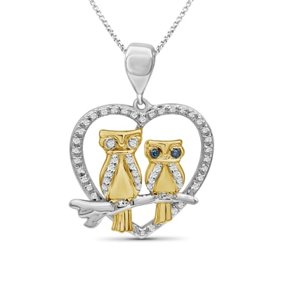 .16 ct. t.w. Diamond Owl Pendant Necklace in Two-Tone Sterling