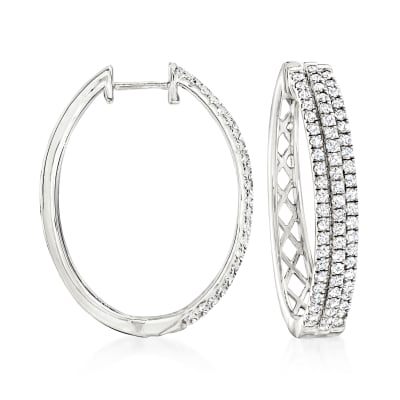 2.00 ct. t.w. Diamond Oval Hoop Earrings in Sterling Silver