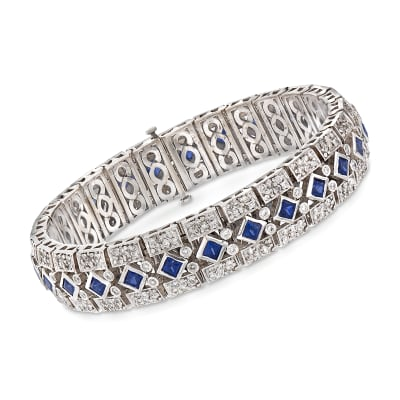 C. 1960 Vintage 5.20 ct. t.w. Square Sapphire and 4.40 ct. t.w. Diamond Bracelet in 18kt White Gold