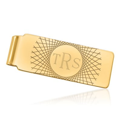 14kt Yellow Gold Monogram Money Clip