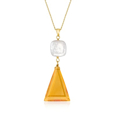 10-12mm Cultured Pearl and 16.00 Carat Citrine Pendant Necklace in 14kt Yellow Gold