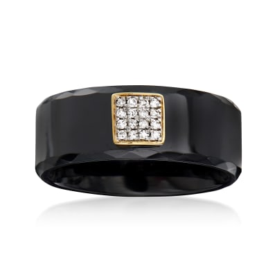 Diamond-Accented Black Ceramic Ring with 14kt Yellow Gold