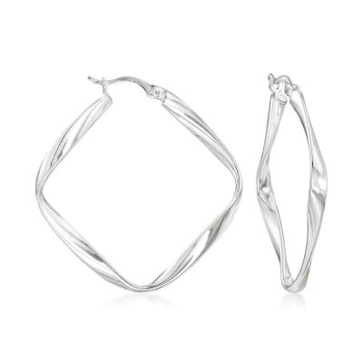 Sterling Silver Twisted Diamond-Shaped Hoop Earrings