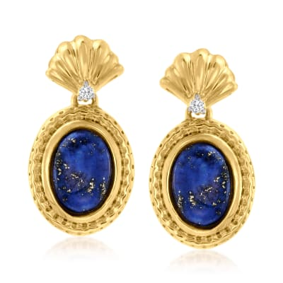Lapis Earrings with Diamond Accents in 18kt Gold Over Sterling