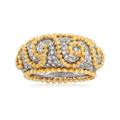 C. 1990 Vintage Rossetti .58 ct. t.w. Diamond Swirl Ring in 18kt Two-Tone Gold