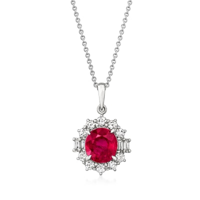 C. 2000 Vintage 2.55 Carat Certified Ruby and .65 ct. t.w. Diamond Pendant Necklace in Platinum and 18kt White Gold