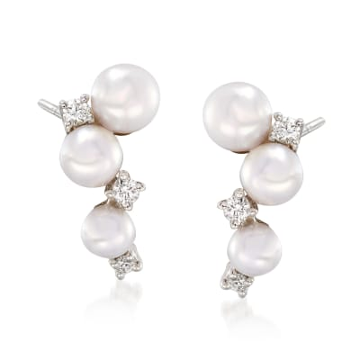 "Mikimoto ""Bubbles"" 3.25-4.25mm Akoya Pearl Cluster Drop Earrings with Diamond Accents in 18kt White Gold"