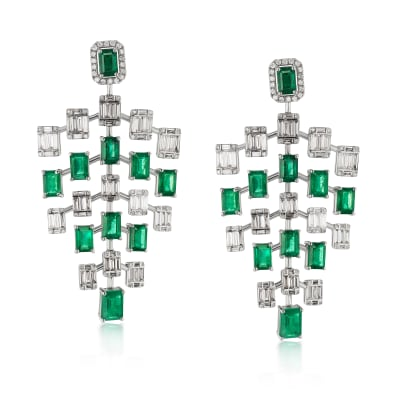 12.83 ct. t.w. Emerald and 1.78 ct. t.w. Diamond Chandelier Earrings in 18kt White Gold