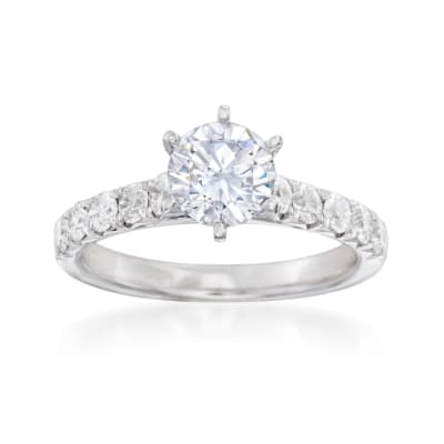 .65 ct. t.w. Diamond Engagement Ring Setting in 14kt White Gold