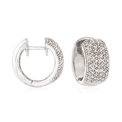 Diamond-Accented Huggie Hoop Earrings in Sterling Silver