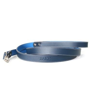 Royce Dark/Light Blue Leather Dog Leash