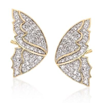 .50 ct. t.w. Diamond Butterfly Wing Earrings in 14kt Yellow Gold