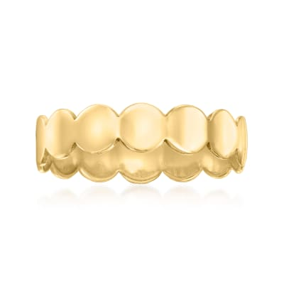 Italian 14kt Yellow Gold Scalloped-Edge Circle Ring