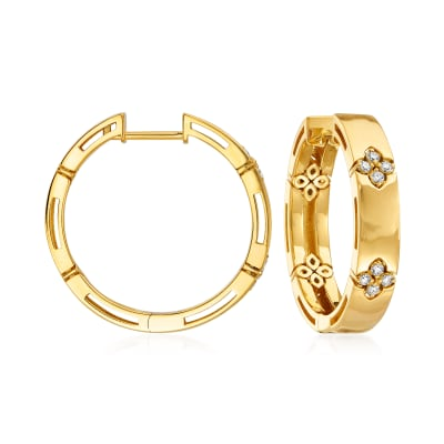 "Roberto Coin ""Love in Verona"" .12 ct. t.w. Diamond Hoop Earrings in 18kt Yellow Gold"