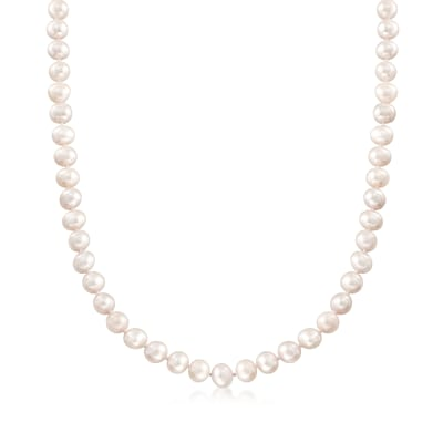 6-7mm Cultured Pearl Necklace with Sterling Silver