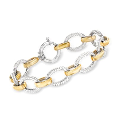 Sterling Silver and 18kt Gold Over Sterling Twisted Oval-Link Bracelet