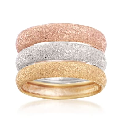 Italian 14kt Tri-Colored Gold Jewelry Set: Three Textured Rings