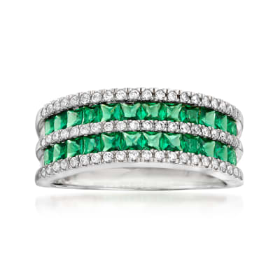 1.20 ct. t.w. Simulated Emerald and .30 ct. t.w. CZ Double-Row Ring in Sterling Silver