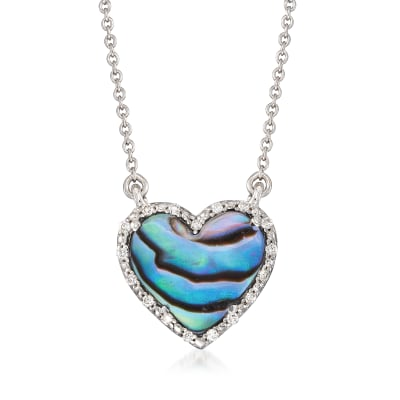 Abalone Shell Heart Necklace with Diamond Accents in Sterling Silver