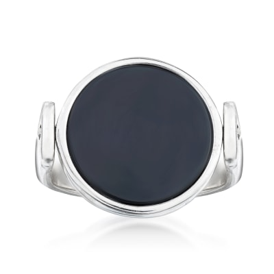 Italian Black Onyx and Sterling Silver Reversible Monogram Ring