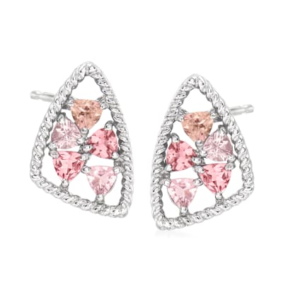 "Andrea Candela ""Mosaico"" .90 ct. t.w. Tonal Pink Tourmaline Earrings in Sterling Silver"