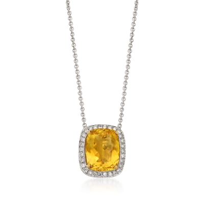 C. 1990 Vintage 5.39 Carat Yellow Beryl and .40 ct. t.w. Diamond Necklace in 18kt White Gold