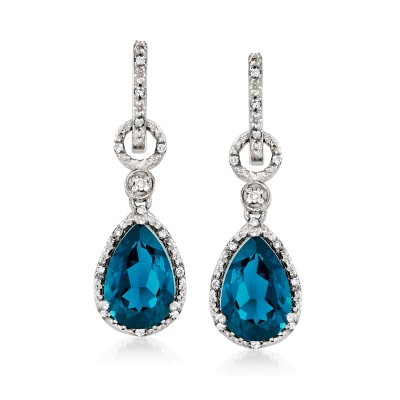 7.24 ct. t.w. London Blue Topaz and .16 ct. t.w. Diamond Hoop Drop Earrings in Sterling Silver