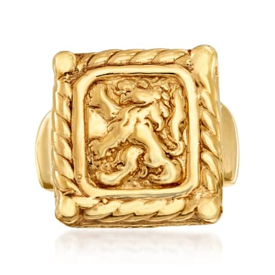 Italian 14kt Yellow Gold Crest-Style Lion Ring