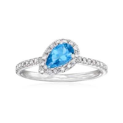 C. 1990 Vintage .46 Carat Aquamarine and .18 ct. t.w. Diamond Halo Ring in 14kt White Gold