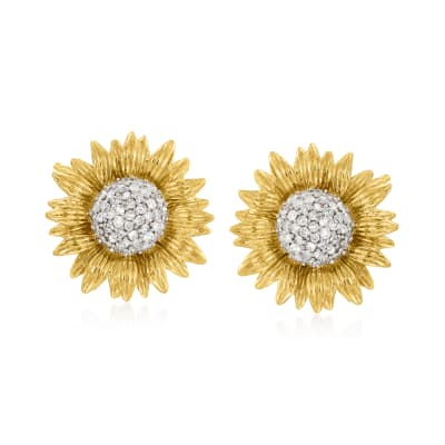 .25 ct. t.w. Diamond Sunflower Earrings in 14kt Yellow Gold