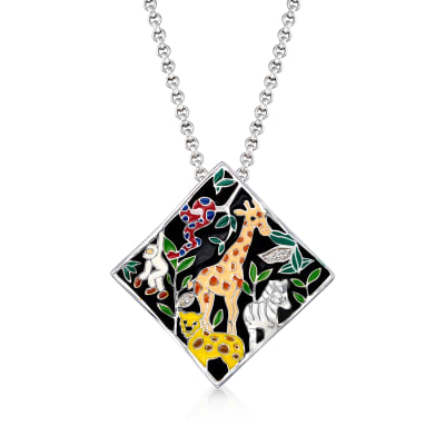 "Belle Etoile ""Serengeti"" Black and Multicolored Enamel Pendant with CZ Accents in Sterling Silver"