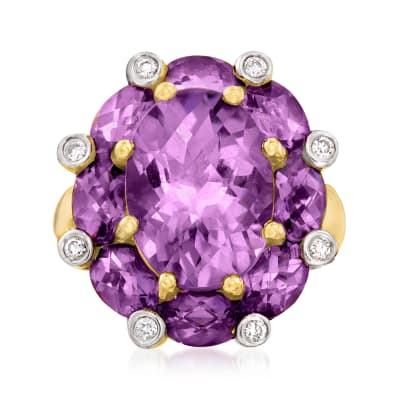 C. 1990 Vintage 9.50 ct. t.w. Amethyst and .12 ct. t.w. Diamond Ring in 14kt Yellow Gold