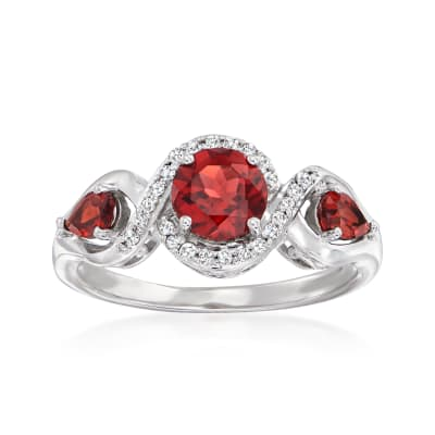 1.50 ct. t.w. Garnet and .12 ct. t.w. Diamond Ring in Sterling Silver