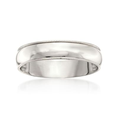 Men's 5mm 14kt White Gold Milgrain Wedding Ring