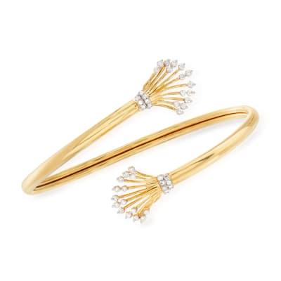 .50 ct. t.w. Diamond Fan Bypass Cuff Bracelet in 18kt Gold Over Sterling