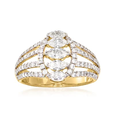 C. 1980 Vintage 1.50 ct. t.w. Diamond Open-Space Ring in 14kt Yellow Gold