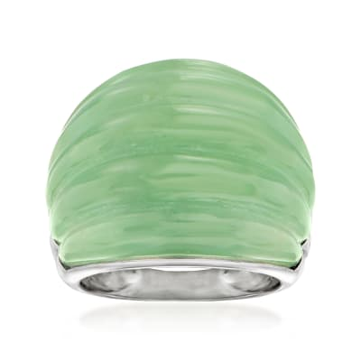 Jade Dome Ring with Sterling Silver
