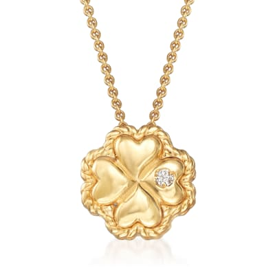 "Phillip Gavriel ""Italian Cable"" Clover Pendant Necklace with Diamond Accent in 14kt Yellow Gold"