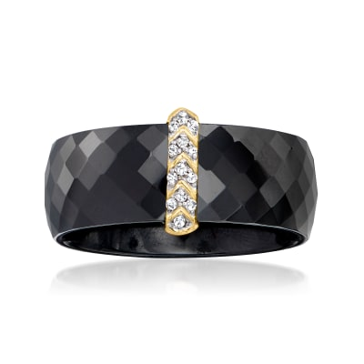 Diamond-Accented Chevron Black Ceramic Ring with 14kt Yellow Gold