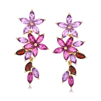 7.30 ct. t.w. Multi-Gemstone Floral Drop Earrings in 18kt Gold Over Sterling