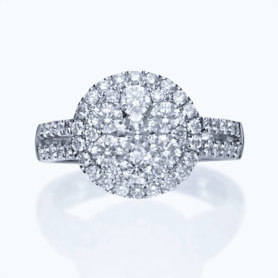 2.20 ct. t.w. Diamond Cluster Ring in 18kt White Gold