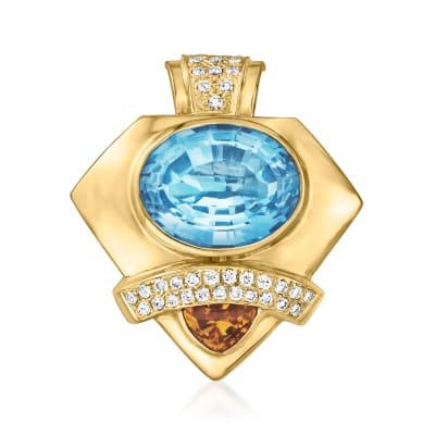C. 1980 Vintage 18.50 Carat Sky Blue Topaz Slide Pendant with 1.05 Carat Citrine and .75 ct. t.w. Diamonds in 14kt Yellow Gold