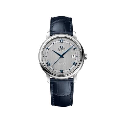 Omega De Ville Prestige Men's 39.5mm Stainless Steel Watch with Blue Leather Strap