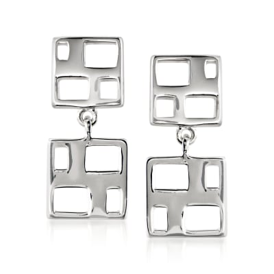 "Zina Sterling Silver ""Windows"" Drop Earrings"