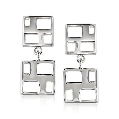 """Zina Sterling Silver """"Windows"""" Drop Earrings"""